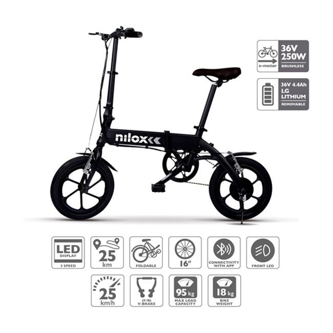 Bicicletta Elettrica Nilox E Bike X2 Plus Nera